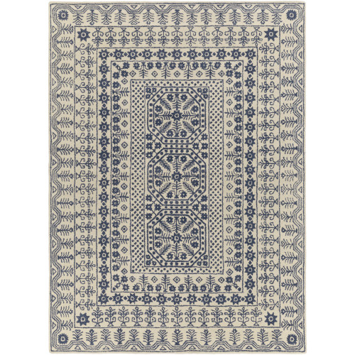 6' x 9' Transitional Style Beige and Blue New Zealand Wool Rectangular Area Throw Rug - IMAGE 1
