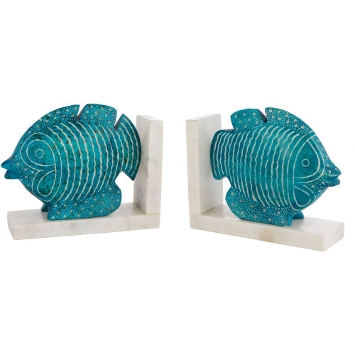 """8.5"""" Aqua Blue and Ivory Fish Figurine and Marble Book Ends - IMAGE 1"""