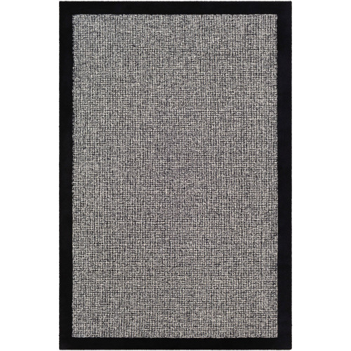 9' x 12' Solid Gray and Black Rectangular Area Throw Rug - IMAGE 1