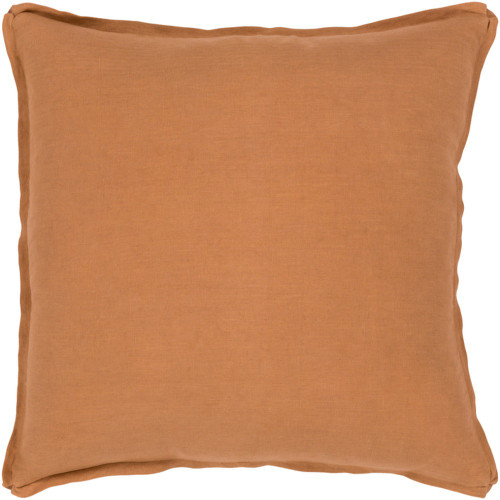 """18"""" Solid Orange Finish Square Woven Throw Pillow Cover with Flange Edge - IMAGE 1"""