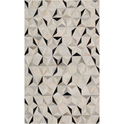 6' x 9' Contemporary Style Gray and Black Rectangular Area Throw Rug - IMAGE 1