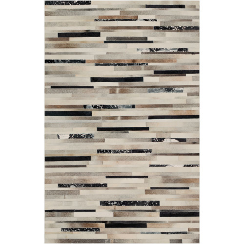 6' x 9' Contemporary Style Brown and Black Rectangular Area Throw Rug - IMAGE 1