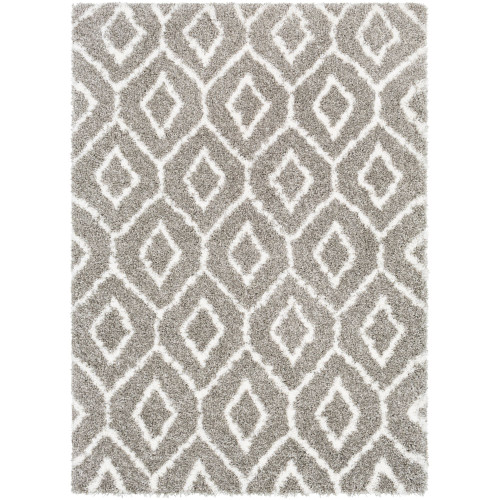 2' x 3' Moroccan Patterned White and Gray Rectangular Machine Woven Area Throw Rug - IMAGE 1
