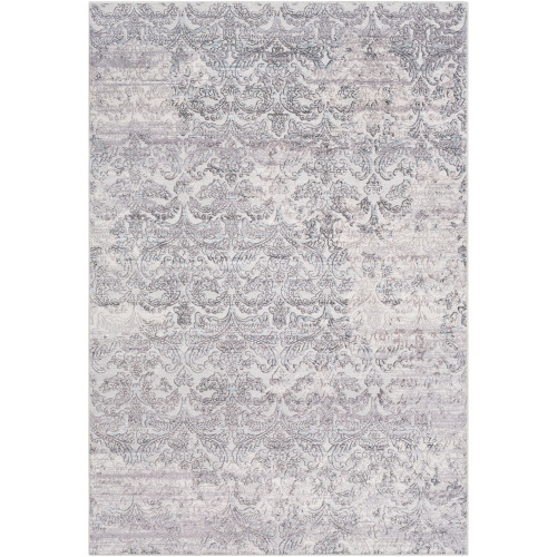 2' x 3' Distressed Leaf Design Gray and White Rectangular Area Throw Rug - IMAGE 1