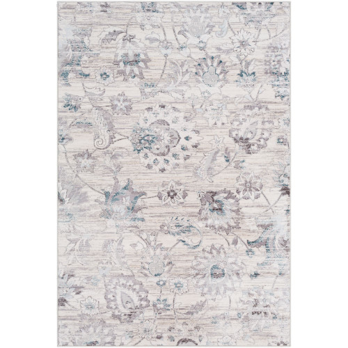2' x 3' Floral Design Gray and White Rectangular Area Throw Rug - IMAGE 1