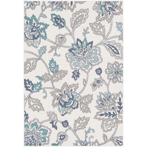 """2'3"""" x 4'6"""" White and Gray Floral Patterned Rectangular Machine Woven Area Rug - IMAGE 1"""