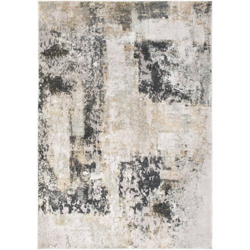 2' x 3' Distressed Finish Gray and Beige Rectangular Polypropylene Area Throw Rug - IMAGE 1