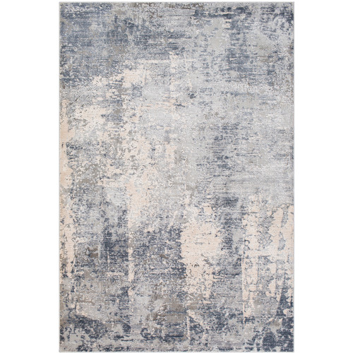 2' x 3' Distressed Finish Gray and Ivory Rectangular Polypropylene Area Throw Rug - IMAGE 1