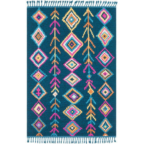 2' x 3' Blue and Pink Bohemian Diamond Patterned Rectangular Machine Woven Area Rug - IMAGE 1