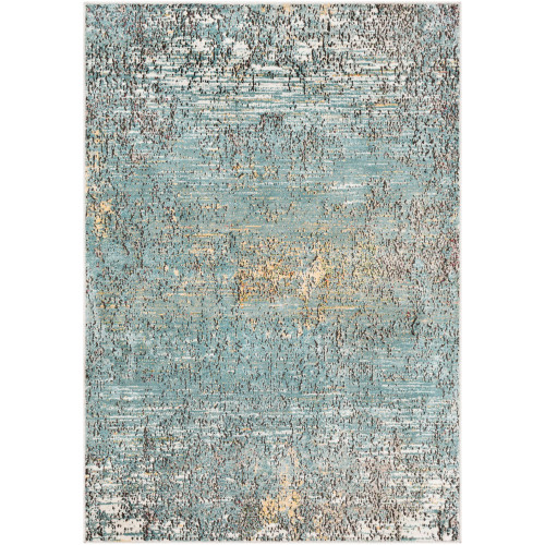 2' x 3' Distressed Finish Blue and Black Rectangular Area Throw Rug - IMAGE 1