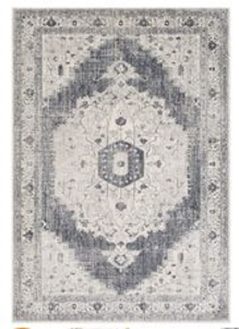 2' x 3' White and Gray Vintage Inspired Floral Pattern Area Throw Rug - IMAGE 1