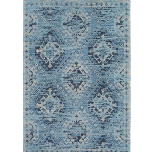 2' x 3' Geometric Pattern Blue and Ivory Wool Area Rug - IMAGE 1