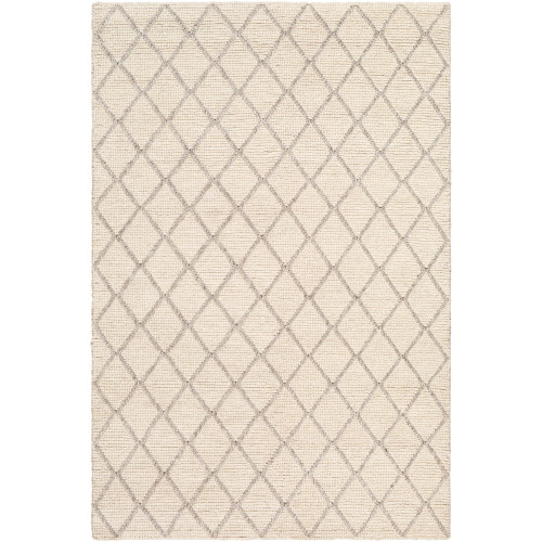 8' x 10' Geometric Cream White and Brown Rectangular Area Throw Rug - IMAGE 1