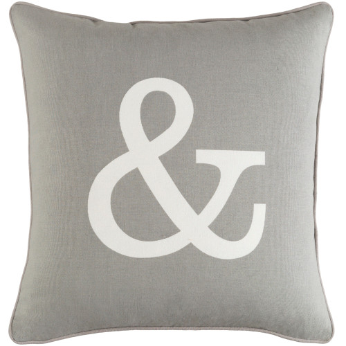 """18"""" Gray and White Ampersand Design Square Woven Throw Pillow Cover - IMAGE 1"""