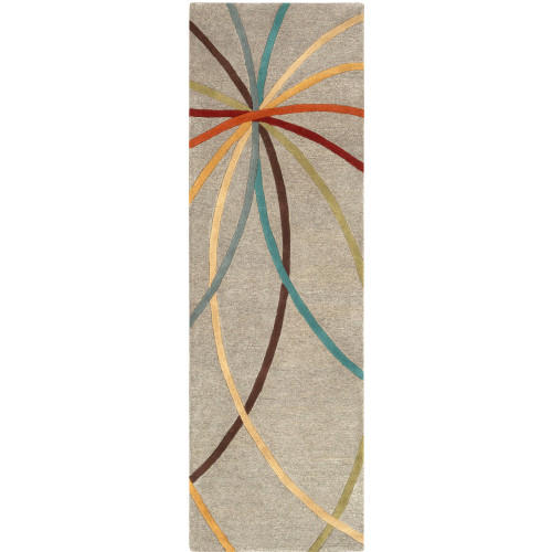 """2'6"""" x 8' Geometric Lines Pattern Ivory Hand Tufted Wool Area Throw Rug Runner - IMAGE 1"""