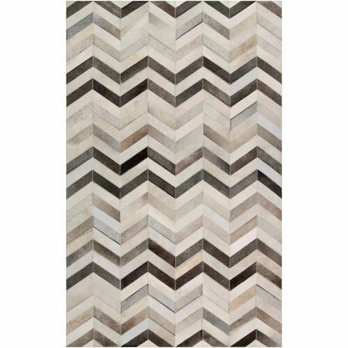 9' x 12' Chevron Design Gray and Brown Rectangular Area Throw Rug - IMAGE 1