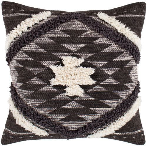 """22"""" Brown Square Woven Embroidered Throw Pillow Cover - IMAGE 1"""
