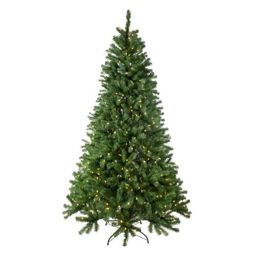 7.5' Pre-Lit Full Multi-Function Basset Pine Artificial Christmas Tree - Dual Color LED lights - IMAGE 1