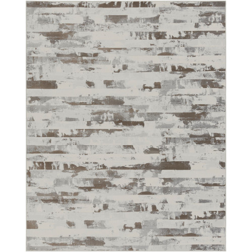 9.1' x 12.8' Contemporary Style Brown and White Rectangular Area Throw Rug - IMAGE 1