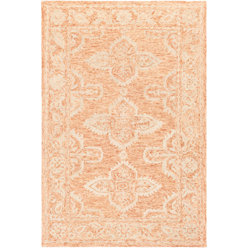 9.75' x 13.75' Traditional Style Orange and Beige Rectangular Area Throw Rug - IMAGE 1