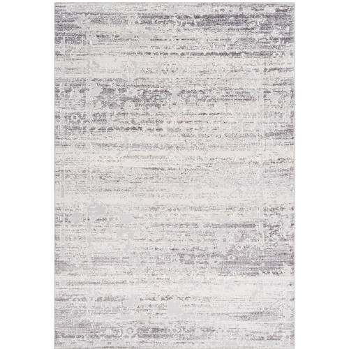 2' x 3' Distressed Gray and White Floral Design Rectangular Machine Woven Area Rug - IMAGE 1