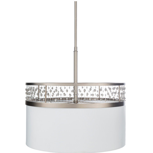 """19"""" White and Silver Colored Antiqued Crystal Steel Hanging Pendant Ceiling Light Fixture - IMAGE 1"""