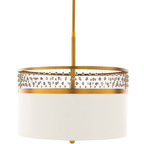 """19"""" White and Gold Colored Antiqued Crystal Steel Hanging Pendant Ceiling Light Fixture - IMAGE 1"""