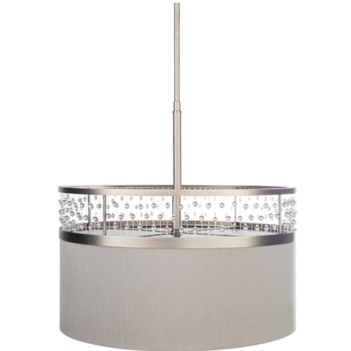 """19"""" Medium Gray and Silver Colored Antiqued Crystal Steel Hanging Pendant Ceiling Light Fixture - IMAGE 1"""