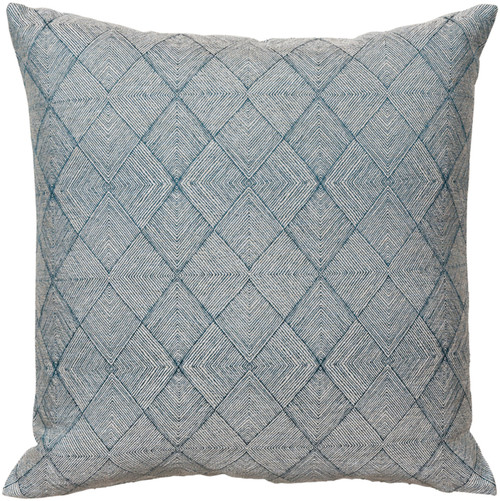 "18"" Teal and Beige Geometric Square Throw Pillow Cover - Down Filled - IMAGE 1"