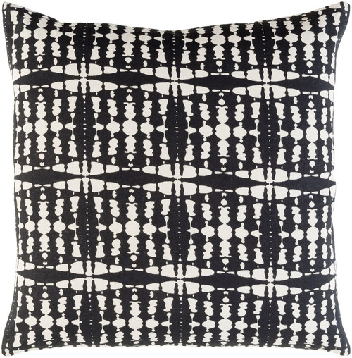 """22"""" Black and White Seamless Patterned Square Throw Pillow - Poly Filled - IMAGE 1"""