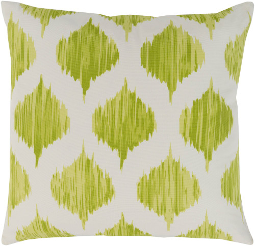 """22"""" Lime Green and White Seamless Patterned Square Throw Pillow - Poly Filled - IMAGE 1"""