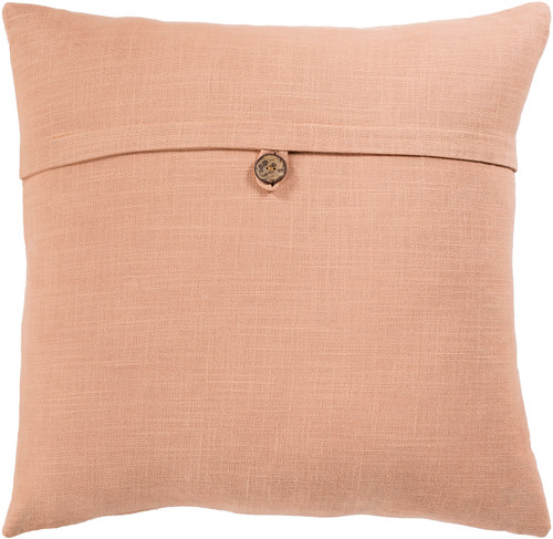 """20"""" Solid Camel Brown Woven Square Throw Pillow Cover with Knife Edge - Down Filled - IMAGE 1"""