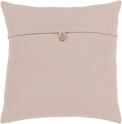 """20"""" Beige Solid Woven Square Throw Pillow Cover with Knife Edge - Down Filled - IMAGE 1"""