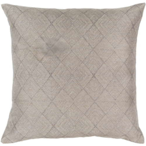"18"" Gray and Beige Geometric Square Throw Pillow - Down Filled - IMAGE 1"