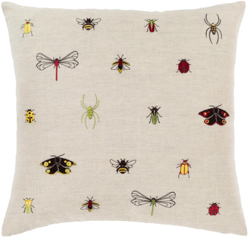 "22"" Brown and Black Insect Printed Square Throw Pillow - Poly Filled - IMAGE 1"