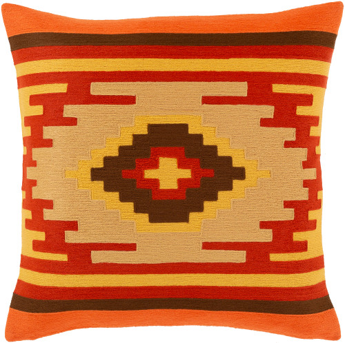 """22"""" Orange and Yellow Embroidered Throw Pillow - Down Filled - IMAGE 1"""