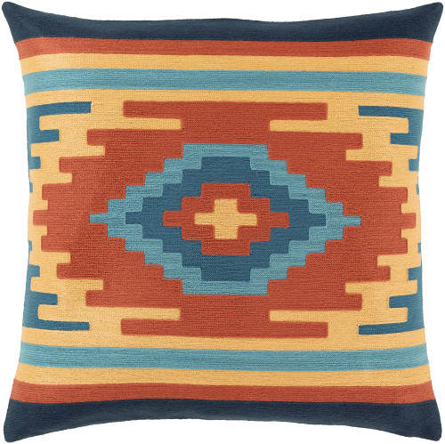 "22""Blue and Beige Geometric Patterned Square Throw Pillow - Down Filled - IMAGE 1"