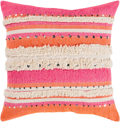 """22""""  Pink, Orange and Cream Striped Pattern Square Throw Pillow - Poly Filled - IMAGE 1"""