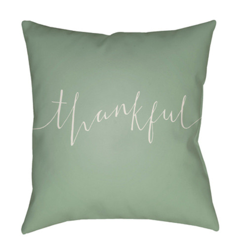 """20"""" Green Color with Beige """"Thankful"""" Printed Square Woven Pillow Cover - IMAGE 1"""