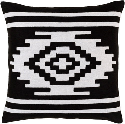 """18"""" Black and White Square Throw Pillow  with Knife Edge - Down Filled - IMAGE 1"""