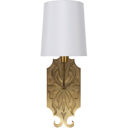 """6.75"""" Gold and White Antiqued Steel 1-Light Glass Wall Sconces with Linen Shade - IMAGE 1"""