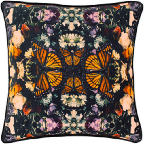 """18"""" Orange and Purple Butterfly Printed Square Throw Pillow - Poly Filled - IMAGE 1"""