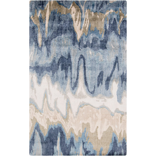 10' x 10' Abstract Style Beige and Navy Blue Square Area Throw Rug - IMAGE 1