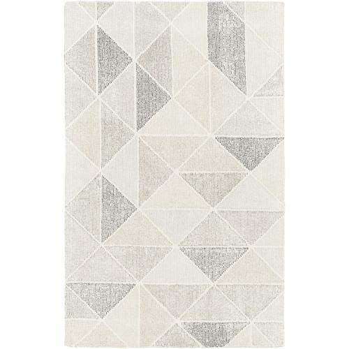 12' x 15' Geometric Cream White and Gray Rectangular Area Throw Rug - IMAGE 1