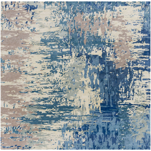 10' x 10' Contemporary Style Blue and Camel Brown Square Area Throw Rug - IMAGE 1