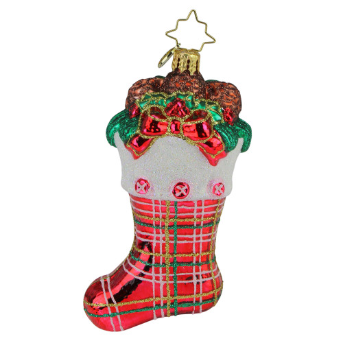 Christopher Radko Classic Country Stocking Glass Christmas Ornament - IMAGE 1