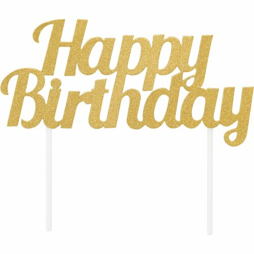 """Club Pack of 12 Gold """"Happy Birthday"""" Glittery Cake Topper 7"""" - IMAGE 1"""