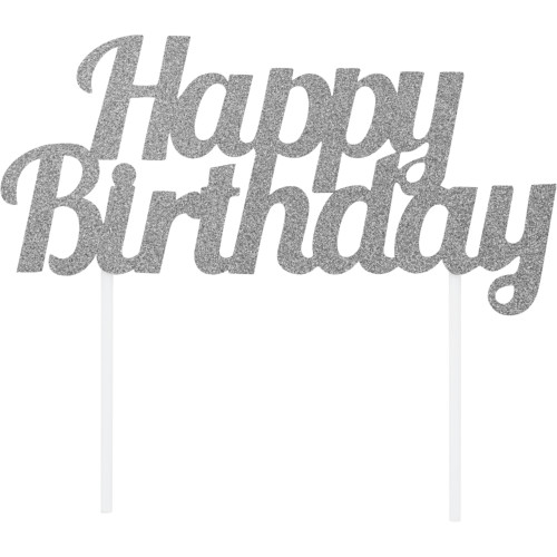"""Club Pack of 12 Silver """"Happy Birthday"""" Glittery Cake Topper 7"""" - IMAGE 1"""