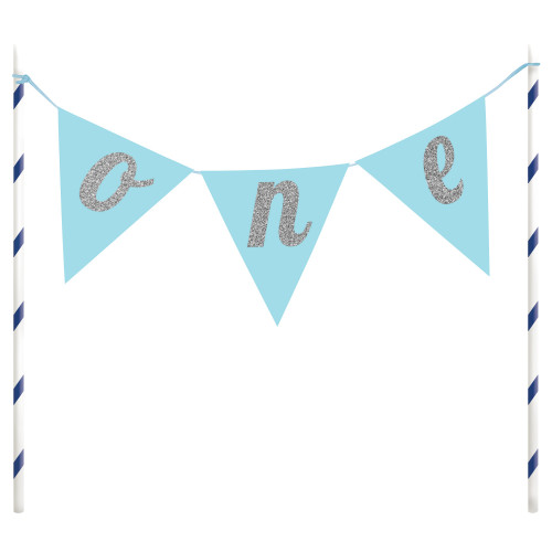 """Club Pack of 12 Blue and White Sparkling Cake Toppers 9"""" - IMAGE 1"""