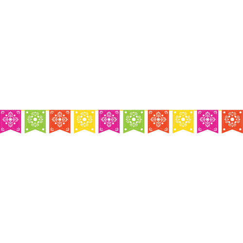 """Pack of 6 Pink and Green Serape - Papel Picado Party Banner 120"""" - IMAGE 1"""